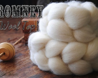 Undyed Natural White Romney Combed Top Wool Roving Spinning Felting fiber - 4 oz