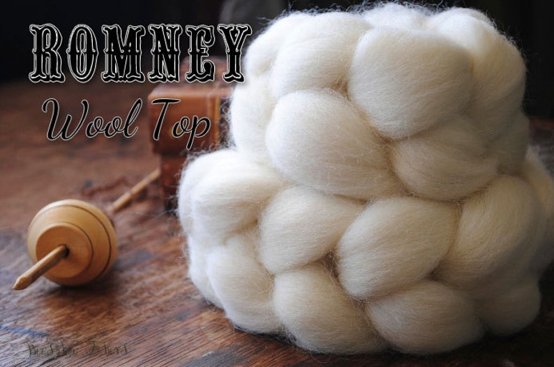 Undyed Natural White Romney Combed Top Wool Roving Spinning image 0