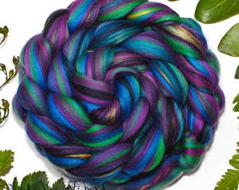 HARLEQUIN - Signature Custom Blend Merino and Mulberry Silk Combed Top Wool Roving for Spinning or Felting in bright colors -4 oz
