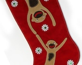 Delightful Swinging Monkeys (suede) Christmas Stocking