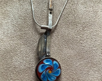Recycled flute key and lampwork glass pendant