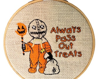 Trick r Treat Sam Embroidery hoop wall hanging