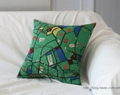 Berlin Map Illustrated Linen PIllow Case(Cover, Slip) - Vivid Green