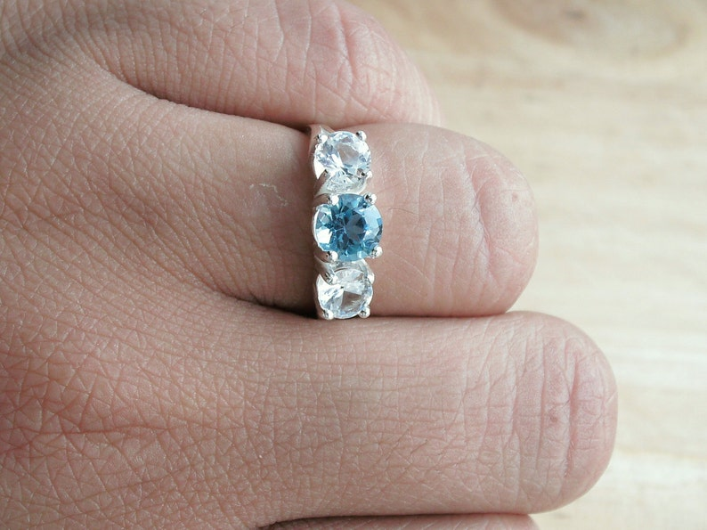 London Blue White Topaz Three Stone Ring Sterling Silver Made To Order