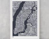 New York City Type Map Screen Print, New York City Type Map, New York City Wall Art, New York City Wall Poster, NYC Word Map, NYC Wall Print