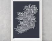Ireland Map, Ireland Type Screen Print, Ireland Word Map, Ireland Wall Poster, Ireland Font Map, Ireland Wall Art Print, Ireland Art Print