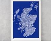 Scotland Type Map Screen Print, Scotland Type Map, Scotland Word Map, Scotland Wall Poster, Scotland Wall Art, Scotland Typographic Print