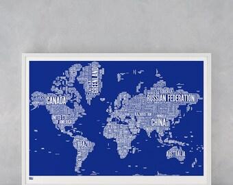 world type map world word map world font map world artwork world wall poster world map world typographic wall poster world art print
