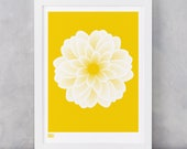 Dahlia Peony Art Print in Bright Yellow, Flowers Wall Art, Flower Design Screen Print, Garden Flowers Screen Print, Gardeners Gift