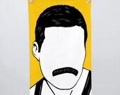 Freddie Mercury Tea Towel, Freddie Mercury Towel, Freddie Mercury Dishcloth, Freddie Mercury, Yellow Towel, Yellow Tea Towel, Rock Icon