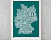 Germany Type Map Screen Print, Germany Font Map, Germany Text Map, Germany Word Map, Germany Map Print, Germany Artwork, Germany Wall Art
