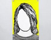 Kurt Cobain Tea Towel, Nirvana, Kurt Cobain Merchandise, Kurt Cobain Dishcloth, Yellow Tea Towel