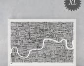 London Type Map, Limited Edition, XL Type Map, London Wall Art, London Wall Poster, London Map Poster, London Word Map