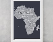 Africa, Africa Type Map Screen Print, Africa Map Wall Poster, Africa Word Map, Africa Text Map, Africa Font Map, Africa Type Map Wall Art