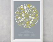 Flower Print, Flowers to encourage Bees print, Bee Kind Print, Plant Artwork, Nature Art Print, Bee Wall Art, Flower Screen Print