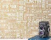 London Type Wallpaper, Map of London Wallpaper, UK Wallpaper, Typographic Wallpaper, Home Decoration, Word Wallpaper