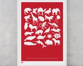 Animal Print, Creature Alphabet Screen Print, Animal Wall Poster, Alphabet Wall Poster, Illustrated Screen Print, Baby Nursery Wall Decor