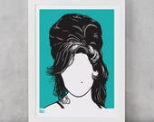 Amy Winehouse Screen Print, Amy Winehouse Wall Art, Amy Winehouse Wall Decor, Amy Winehouse Print, Amy Winehouse Merchandise, Music Wall Art