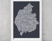 Cumbria Type Map, Lake District Type Map, Cumbria Word Map, Type Wall Art, Lake District Wall Art, Cumbria Map