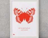 Butterfly Print, British Butterflies, Small Tortoiseshell Screen Print, Nature Wall Art, Butterfly Wall Art, Butterfly Decor