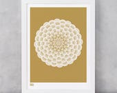Dahlia Pompon Art Print in Bronze, Flowers Wall Art, Flower Design Screen Print, Garden Flowers Screen Print, Gardeners Gift