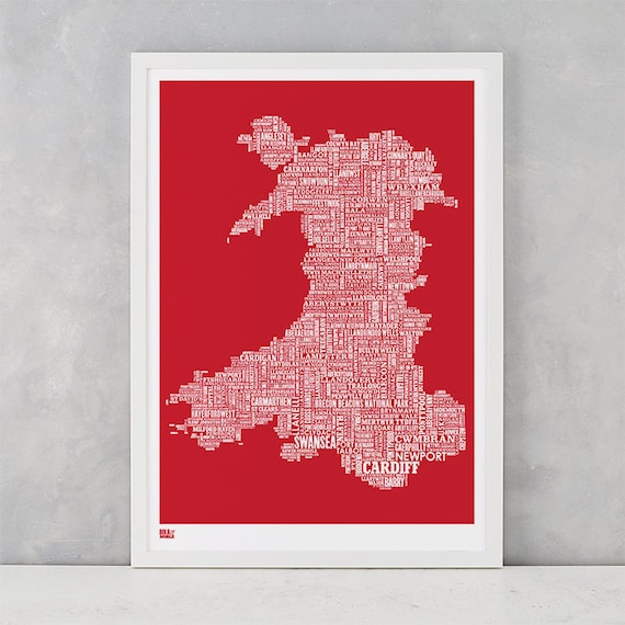 Wales Type Map, Wales Word Map, Wales Text Map, Wales Wall Poster, Wales Art Print, Wales Map, Wales Typographic Map, Wales Artwork by Etsy