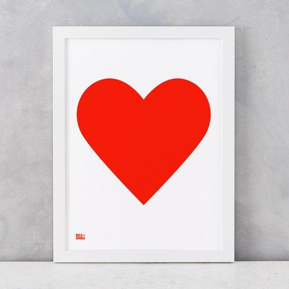 Love Heart Print Neon Red On White Card Love Print Heart Etsy