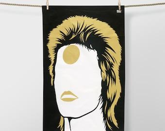 Special Edition Bowie Tea Towel, David Bowie Tea Towel, Gold Tea Towel, Black Tea Towel, Ziggy Stardust Tea Towel, Aladdin Sane Tea Towel