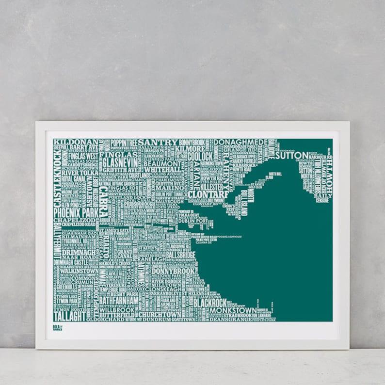 Dublin Dublin Type Map Screen Print Dublin Font Map Dublin image 0