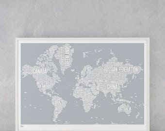 World Map Wall Art, World Map Poster, World Map Print, World Typographic Wall Poster, World Art Print