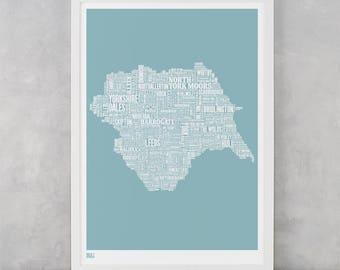 Yorkshire Type Map, Yorkshire Word Map, Yorkshire Wall Art, Yorkshire Art Print, Yorkshire Text Map, Yorkshire Typographic Map, Yorkshire