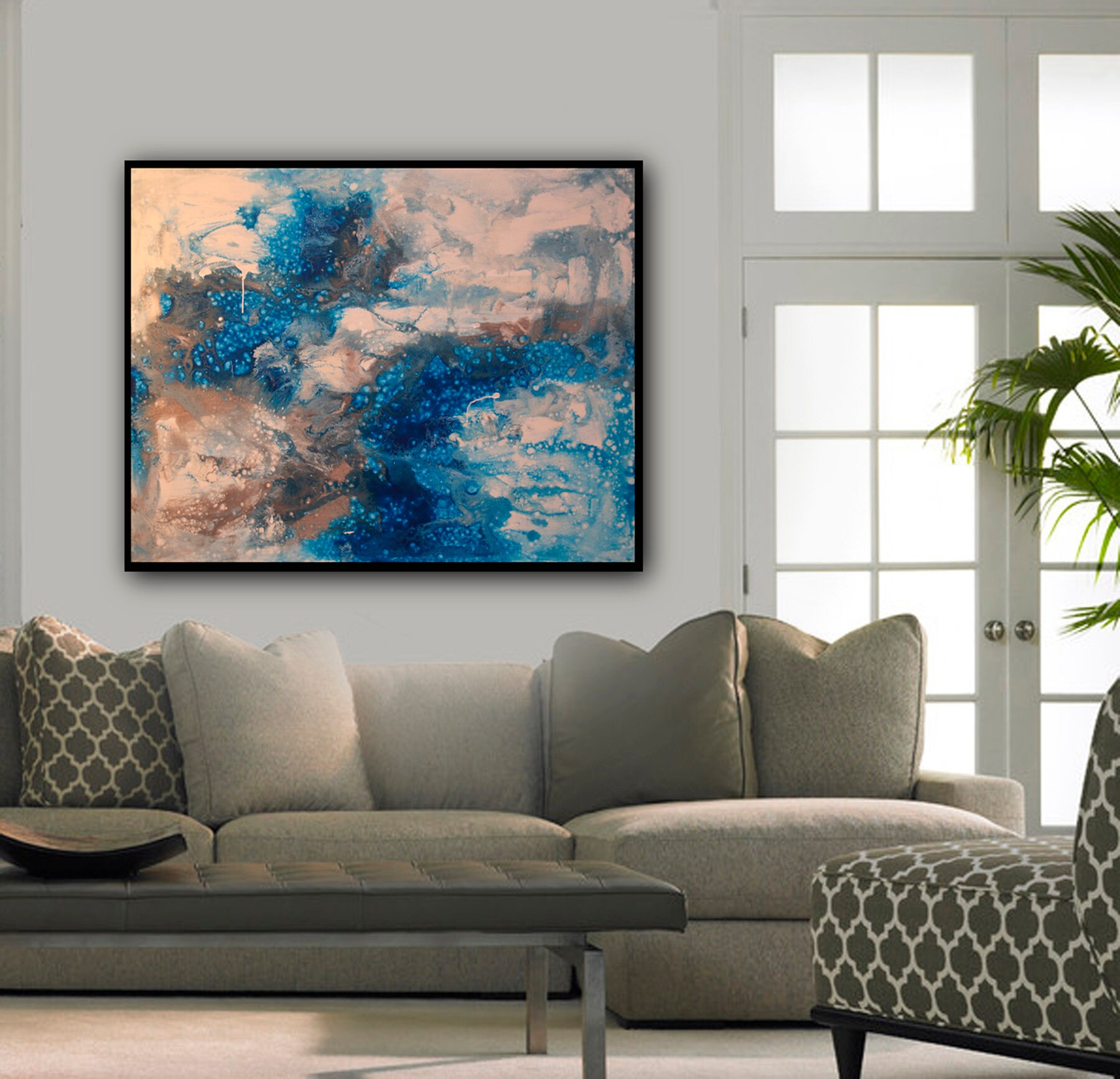 Original Large Modern Abstract Painting Liquid Fluid Wall Art Deco