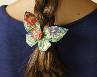 Butterfly Hair Clips Set of Two Japanese Cotton Entomology Woodland Nature Lover Accessory Gift for Her Free Shipping
