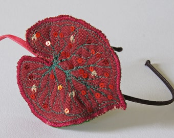 Caladium leaf textile headband in ruby red with sequins