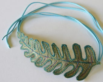 Fern Leaf Bun Wrap Textile Hair Accessory Botanical Fiber Art Gift for Her