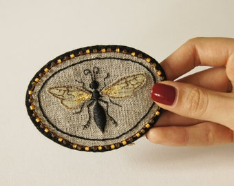 Hand embroidered Mournful wasp sew on patch