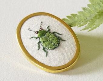 Chartreuse green Leaf Beetle brooch, lapel pin,