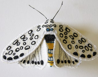 Giant Leopard Tiger Moth, embroidered brooch