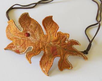 Textile Acanthus Leaf Bun Wrap Botanical Fiber Art Woodland Hair Accessory Orange Silk Nature Lover
