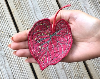 Caladium leaf brooch in berry red silk