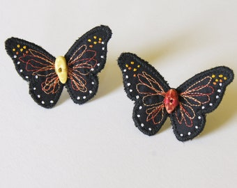 Monarch butterfly ring, textile jewelry