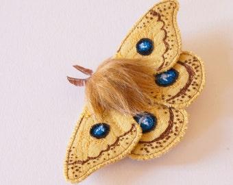 Fiber Art Moth Brooch Tau Emperor Textile Art Entomology Natural History Wildlife Woodland Nature Lover European Butterfly Donation