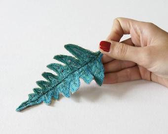 Blue textile fern leaf brooch, botanical jewelry