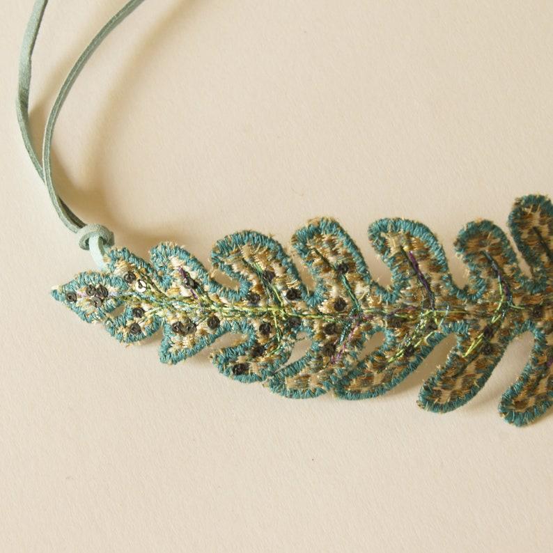 Hair Accessory Blue Green Silk Bun Wrap Botanical Accessory Gift for Her Metallic Hair Ornament Golden Leaf Textile Fern Leaf