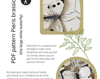 PDF sewing pattern + video tutorial white butterfly soft sculpture step-by-step digital
