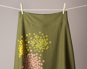 knee length skirt, a-line skirt, hemp and organic cotton skirt, olive green