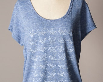 loose fit women's top, paper cranes, origami, good luck charm