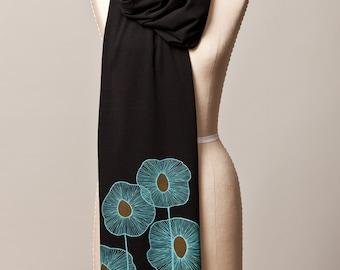 black jersey scarf, long black scarf, turquoise botanical screenprint scarf