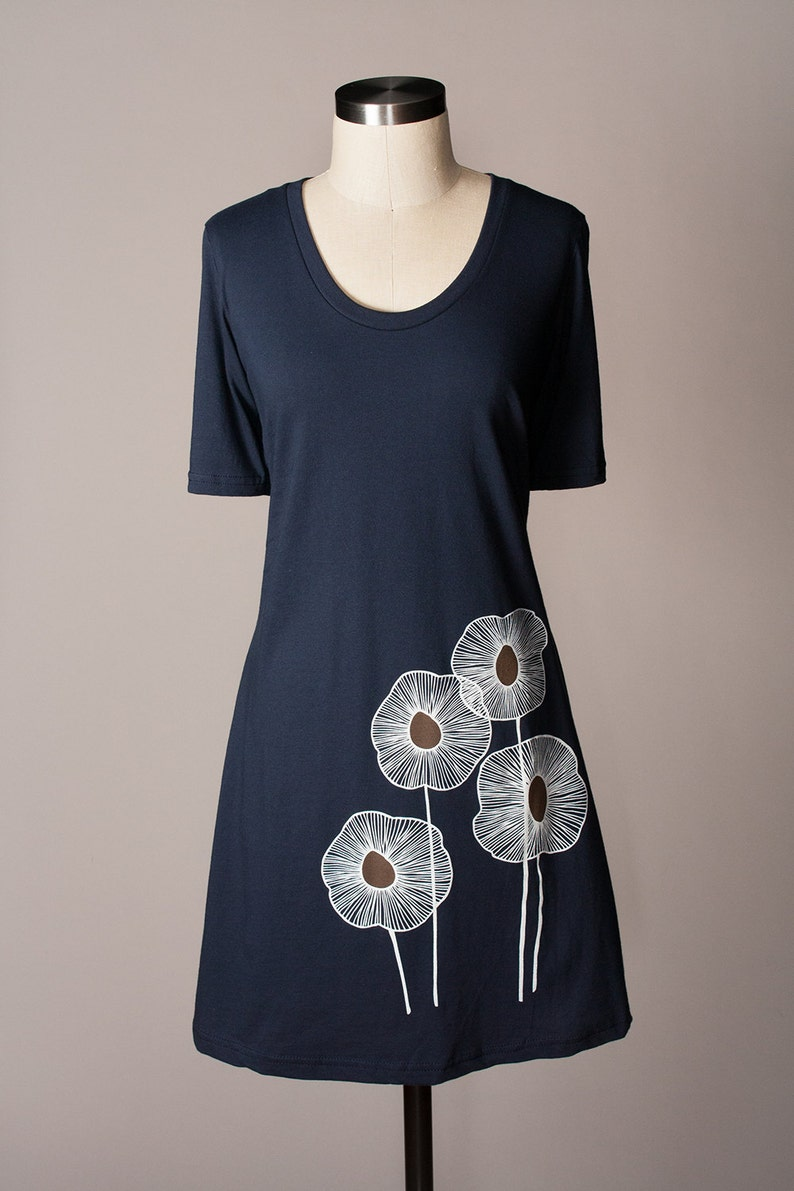 Women's T-Shirt Dress for Summer Navy Blue Cotton image 0