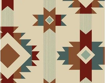 fabric | Southwestern Indian IVORY Native American Print | 7465 | Salmon Run Steve Marquez | 100% cotton BTY | Native American cotton print